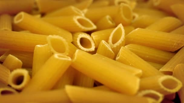 uncooked Pasta Tubes Rotating