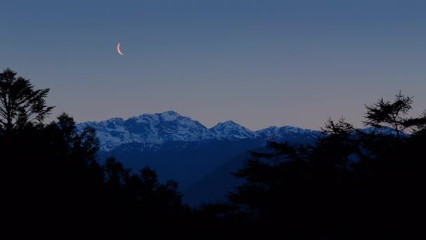 Měsíc nad horského lesa za soumraku