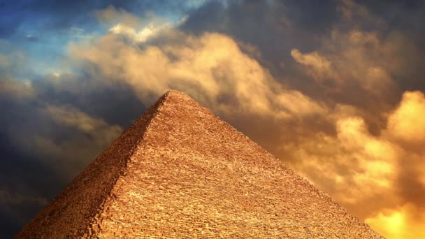 Pyramid With Golden Clouds Passing Above
