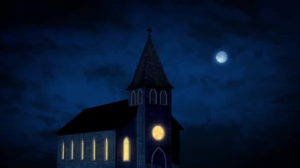 Small Church Lit Up At Night