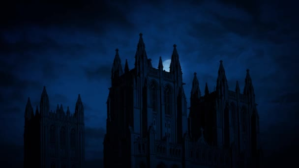 Moon Moves Behind Gothic Cathedral
