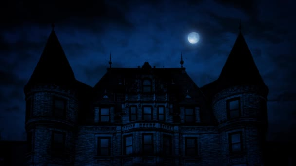 Gothic Mansion House At Night