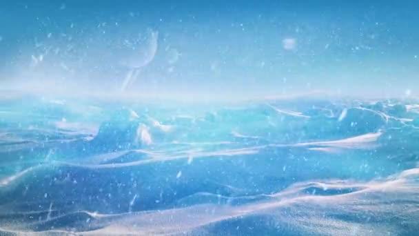 Zasněžené cizí planety zářící zářením