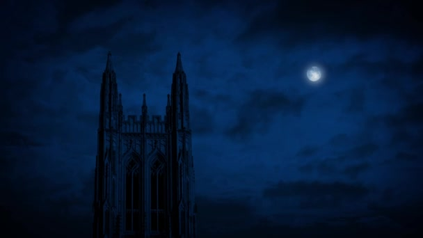 Gothic Church Spire With Moon Above