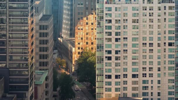 Huge City Buildings And Busy Road In Golden Sunlight