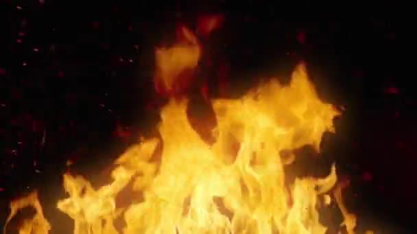Zuřící oheň jiskry a uhlíky