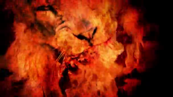 Ferocious Lion Eats Meat In Fire Abstract