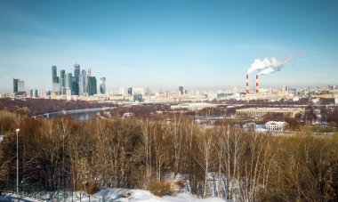 Panoramic view of Moscow city in winter