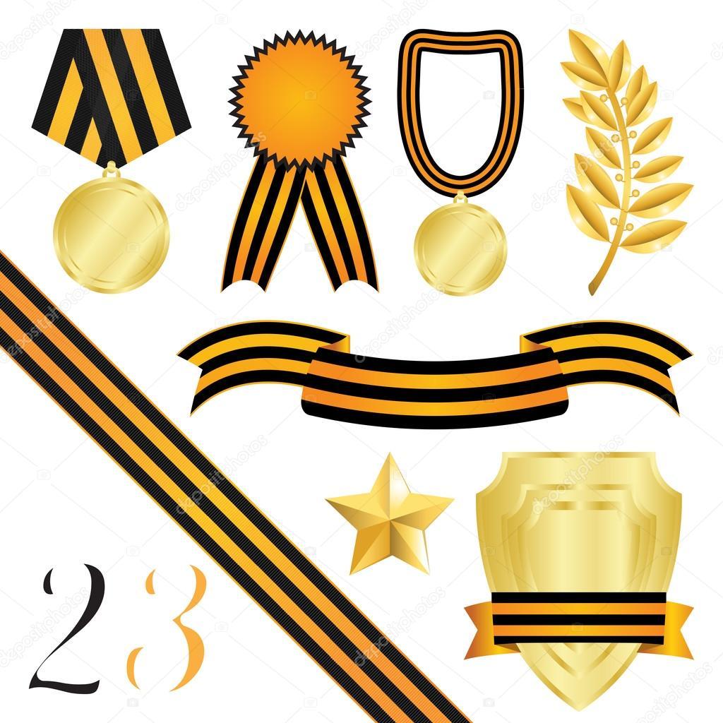 colección de elementos de diseño para Felicitaciones el 23 de ...