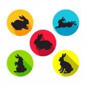 Kaninchen in verschiedenen Positionen. Vektor-Illustration im flachen Stil.