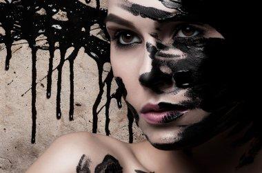 "Картина, постер, плакат, фотообои ""лицо девушки в краске . портрет портреты фото"", артикул 76040855"
