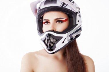 The girl in the helmet.