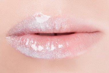 White lips close-up.
