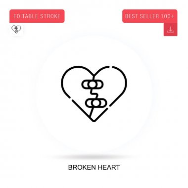 Broken heart flat vector icon. Vector isolated concept metaphor illustrations. icon