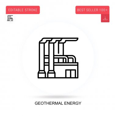 Geothermal energy flat vector icon. Vector isolated concept metaphor illustrations. icon