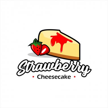 Modern cartoon strawberry cheesecake pastry vector best for bakery and food logo design template icon