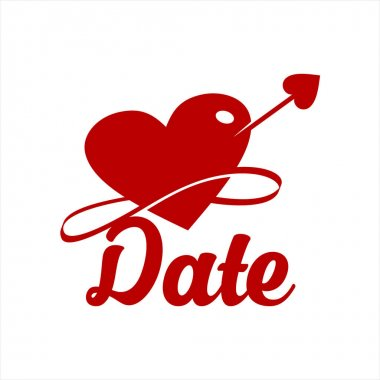 Simple modern hearth with arrow vector in red color. dating or love logo design template icon
