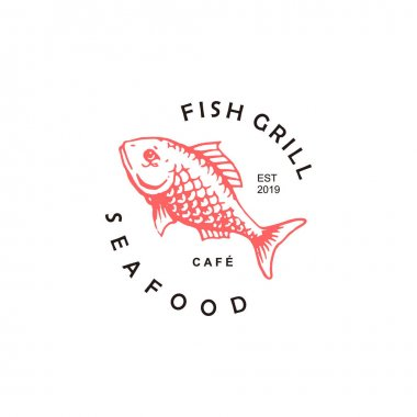 Simple grill fish restaurant logo template. food and drink business icon inspiration, seafood culinary sticker idea icon