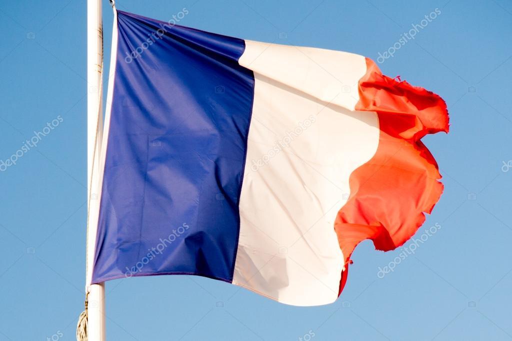 Hermosa Bandera Francesa Ondeando En El Viento Bajo El