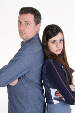 Teenager's problem father and teenager back to back not happy
