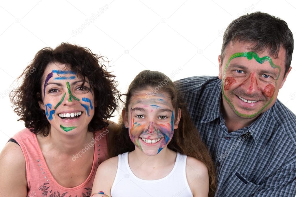 Yüz Boyama Anne Ve Kızı Ile Mutlu Aile Stok Foto Sylv1rob1