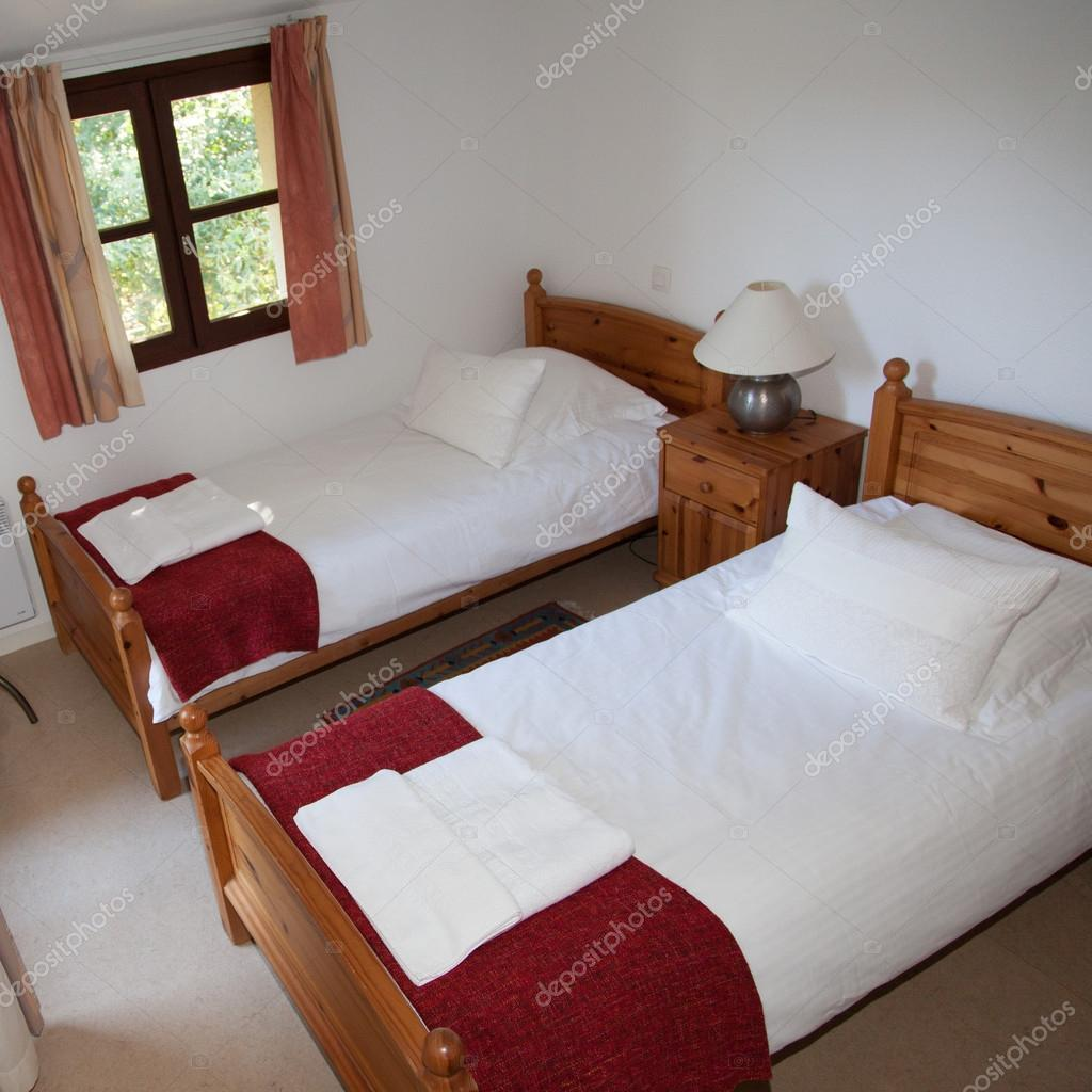 Two Single Beds In Cozy Bedroom In A Bright House U2014 Stock Photo
