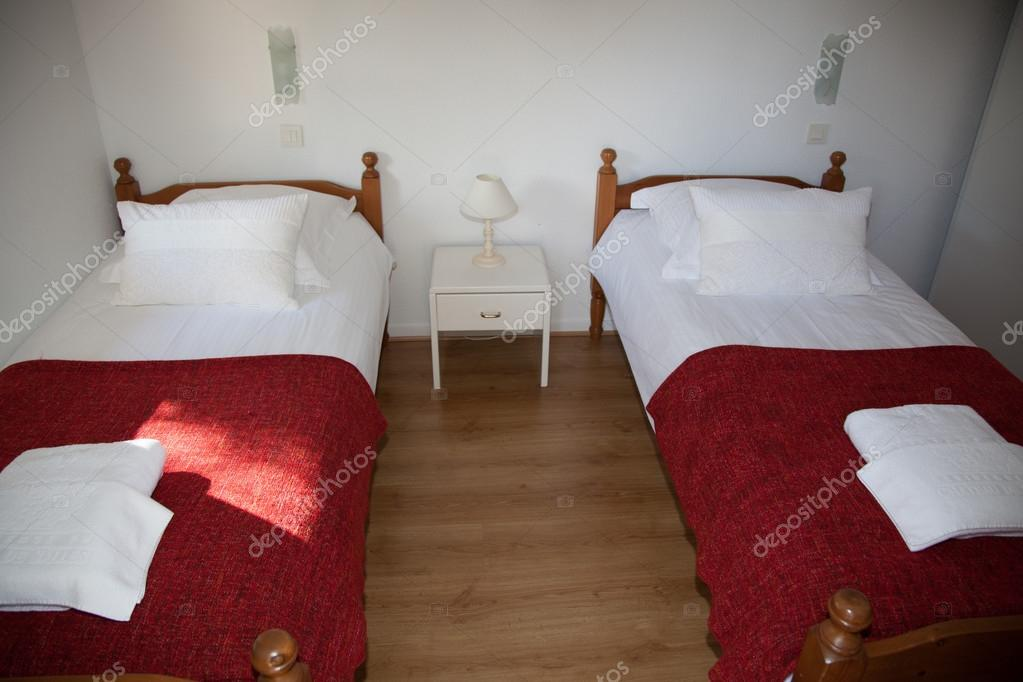 Superb Two Single Beds In Cozy Bedroom In A Bright House U2014 Stock Photo