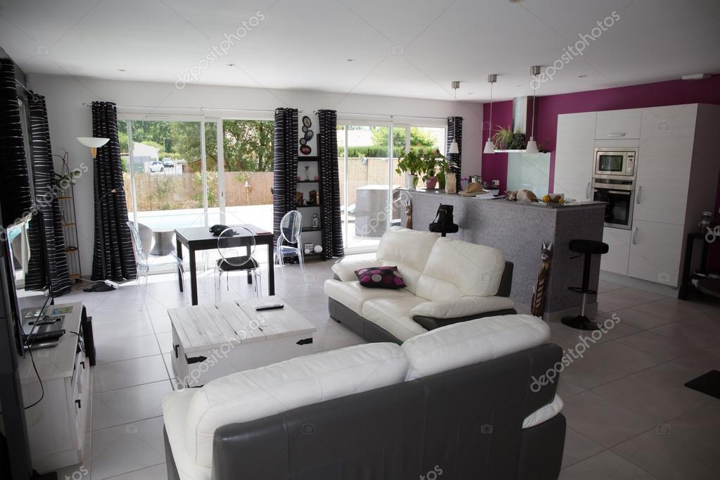 Prachtige woonkamer-eetkamer in modern huis — Stockfoto © sylv1rob1 ...