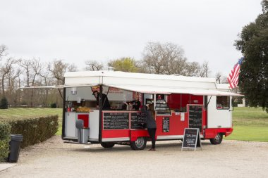 White and red vintage foodtruck