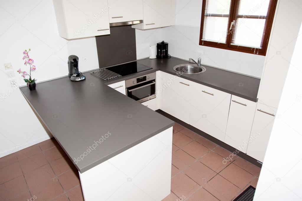 Grijze Moderne Keuken : Witte en grijze moderne keuken ontwerpers interieur u2014 stockfoto