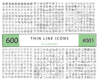 600 Vector thin line icons set for infographics, mobile UX/UI ki
