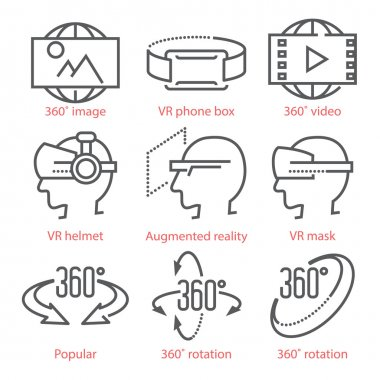 Vector thin line icons set with 360 Degree View Icons, virtual r