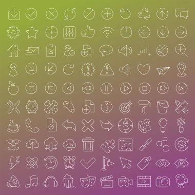 One hundred  vector line icons set