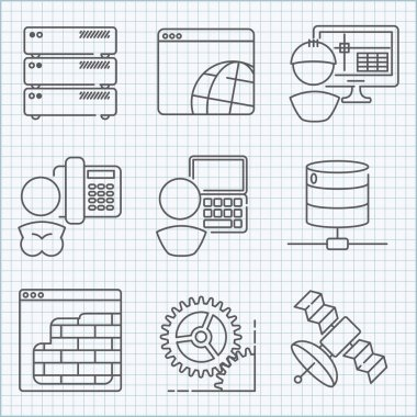 Communication and web service  icons set
