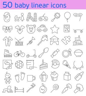 Line baby icons set.