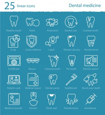 dental medicine thin line icons