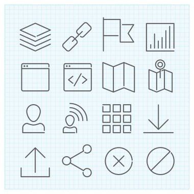 linear icons set