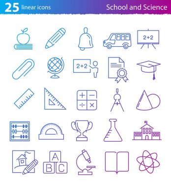 School, education and science icons set