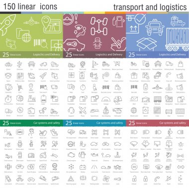 thin line icons set for transportation