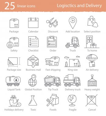 Transportation, logistics and delivery  icons set