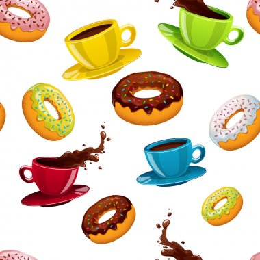 pattern with donuts and coffee