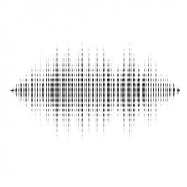 Waveform  background isolated. Black and white halftone vector sound waves. You can use in club, radio, pub, party, DJ, concerts, recitals or the audio technology advertising background stock vector