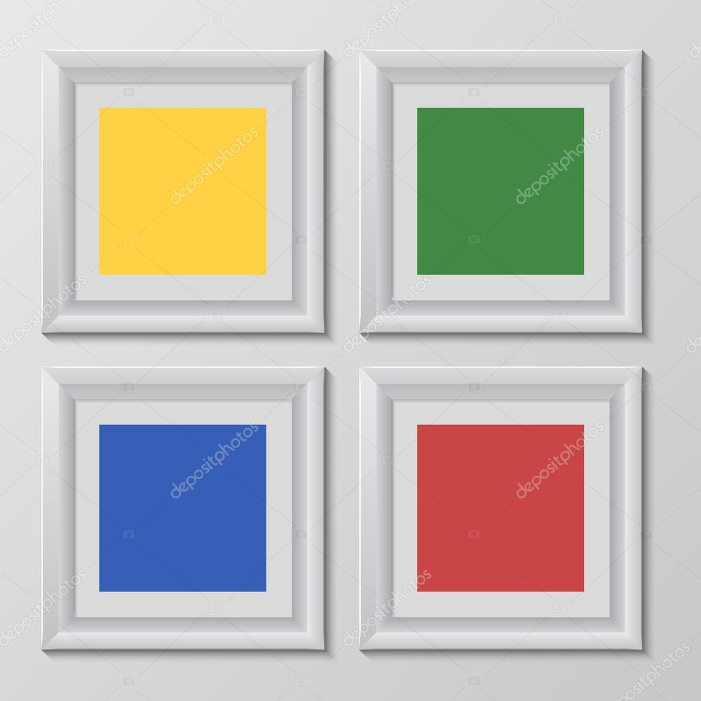 marcos de madera cuadrados set de arco iris para su diseño web de ...