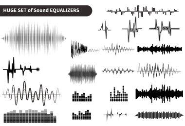 Huge vector sound waves set. Audio equalizer technology, pulse musical. Vector illustration clip art vector