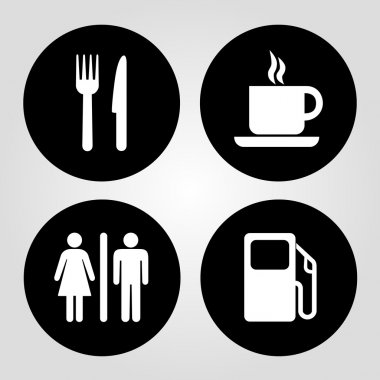 Gas station, food, coffee cup and wc vector
