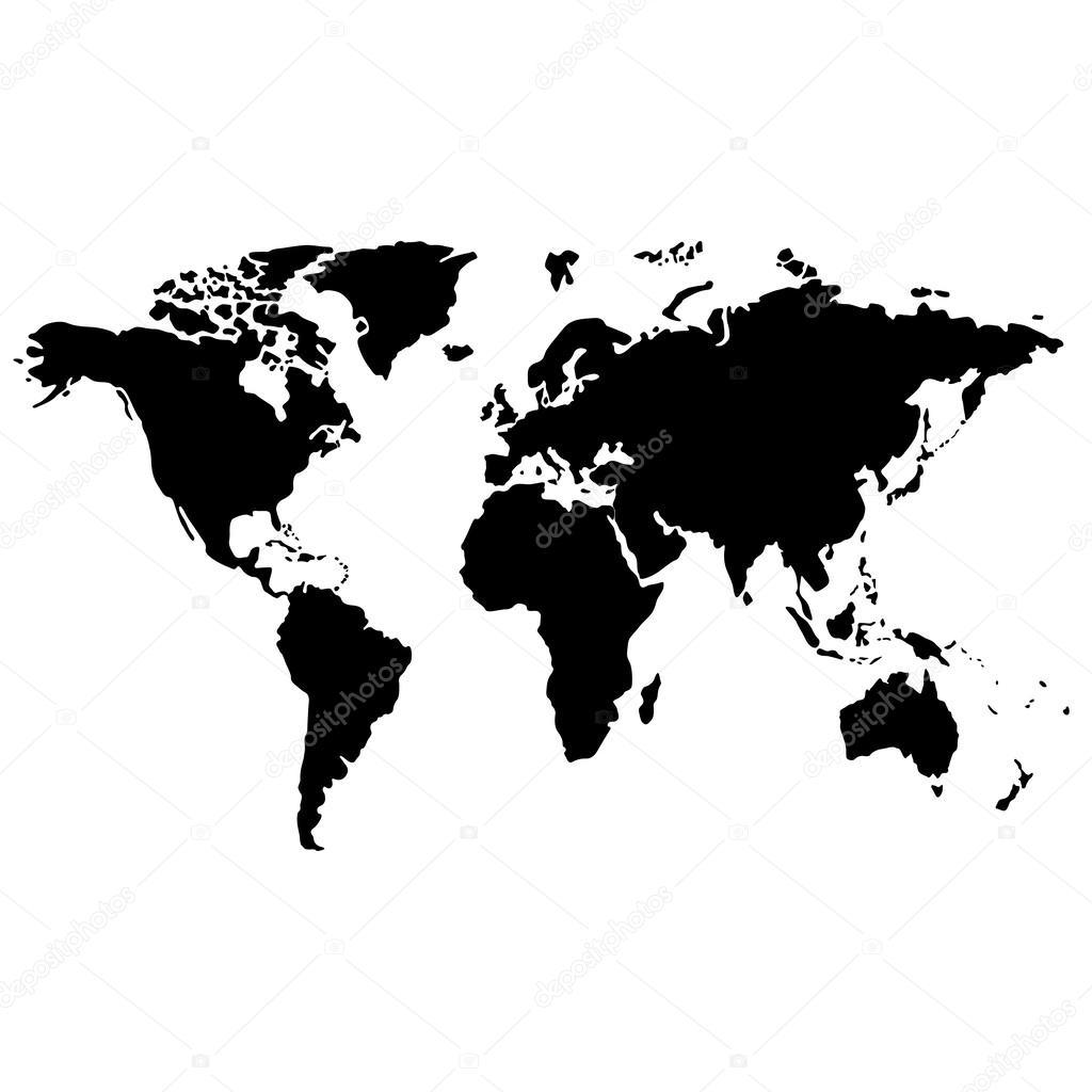 kaart van de wereld van de zwart wit stockvector yayha 63031709. Black Bedroom Furniture Sets. Home Design Ideas