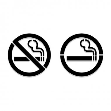 No smoking and Smoking area labels, vector illustration