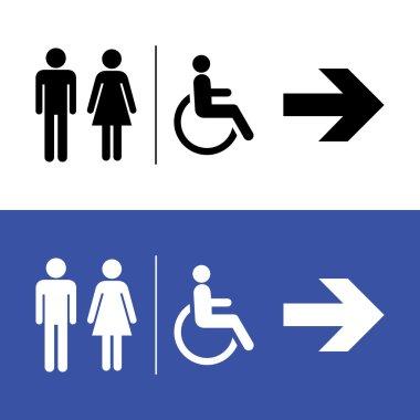 Restroom icon, toilette signs