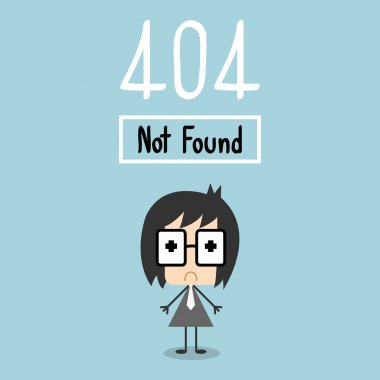 Vector 404 Error Page not found. businessman cry concept.