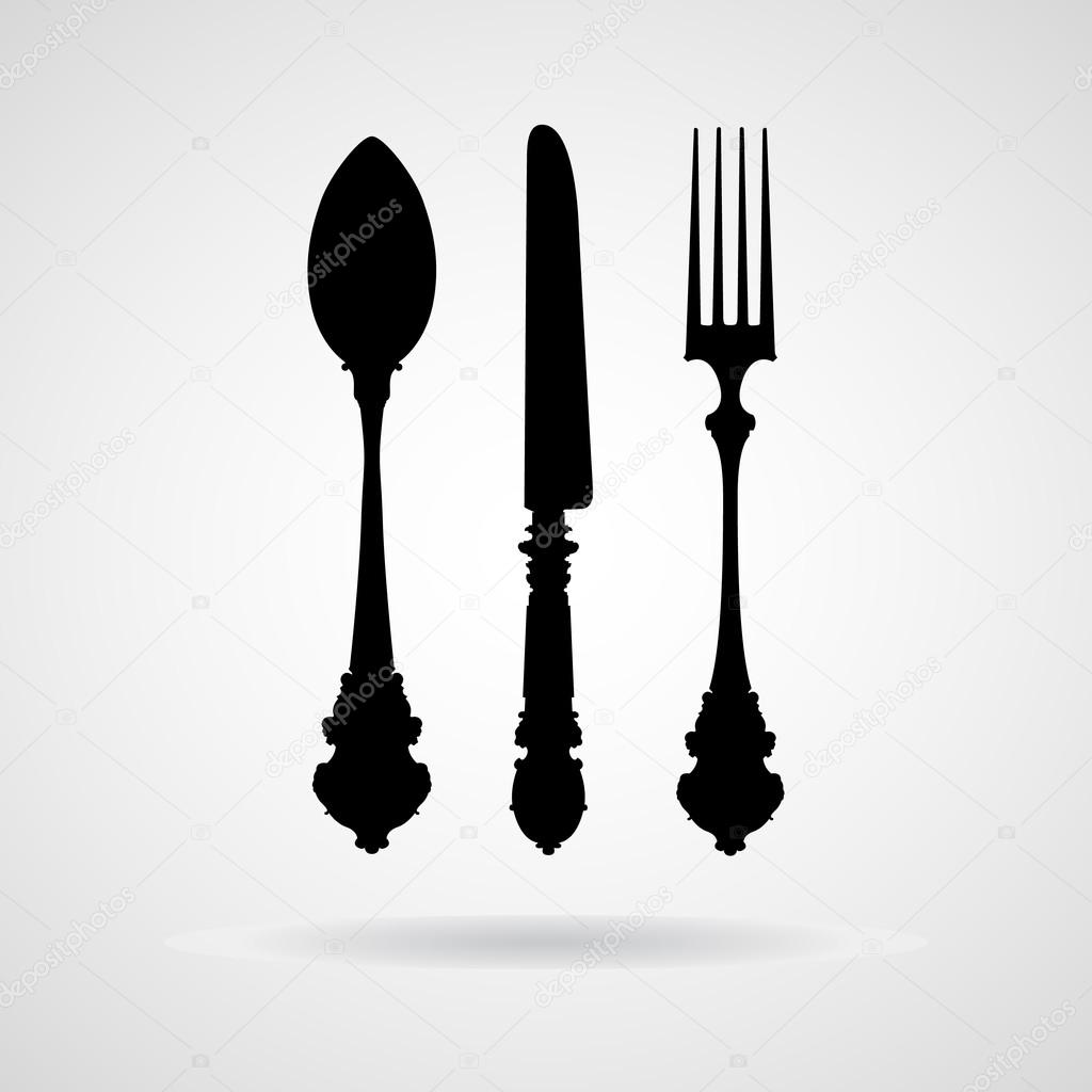fork spoon knife vector and icon eps10 � stock vector